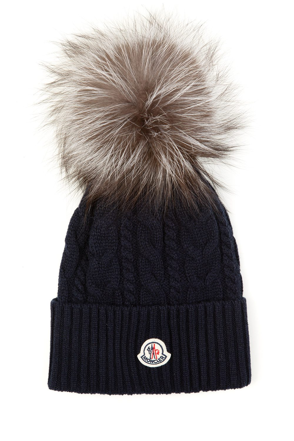 Moncler Women s Cable Knit Beanie Hat Navy - Linea Fashion b0e760c43eb2