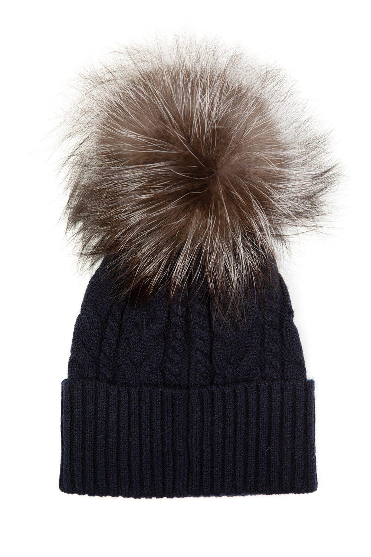 5595f796e05f5 Moncler Women s Cable Knit Beanie Hat Navy - Linea Fashion