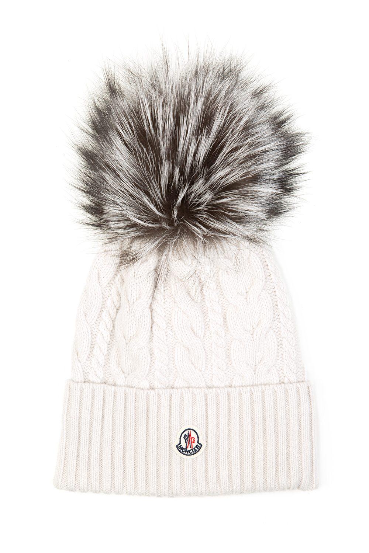 Moncler Women s Cable Knit Beanie Hat Cream - Linea Fashion caff62af2