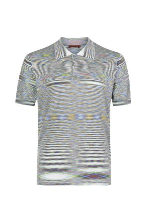Missoni Men's Optical Print Polo Shirt Blue