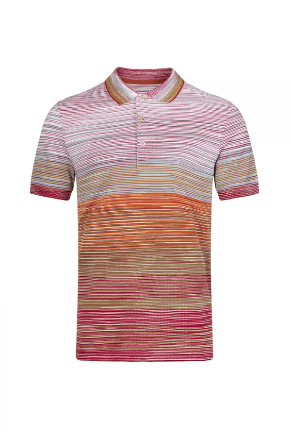 Missoni Men's Shaded Stripe Polo Shirt Orange