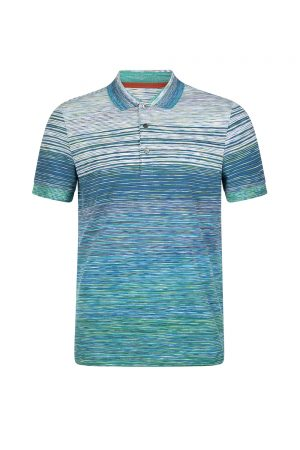 Missoni Men's Gradient Stripe Polo Shirt Blue