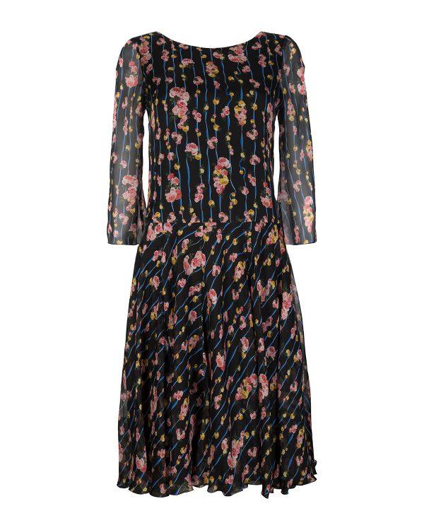 Blumarine Women's Boat Neck Floral Dress Black