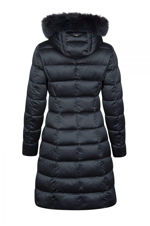 Herno Women's Satin Nylon Quilted Down Coat Navy