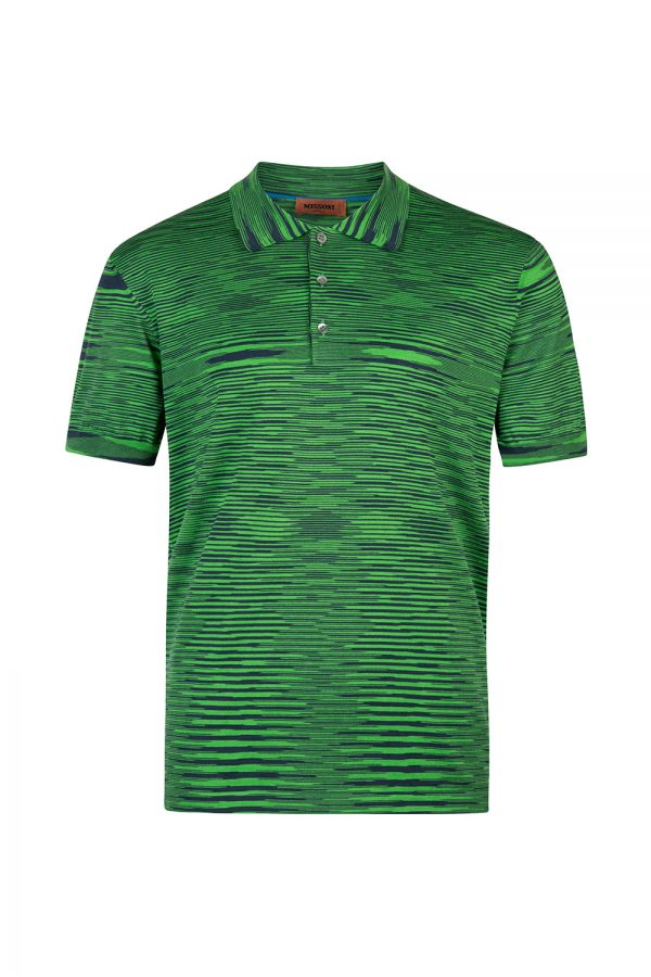 Missoni Men's Cotton Space-Dye Polo Shirt Green