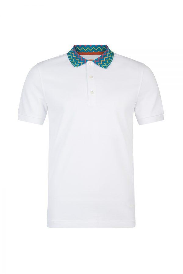 Missoni Men's Zig Zag Collar Polo Shirt White
