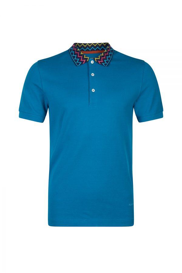 Missoni Men's Zig Zag Collar Polo Shirt Blue