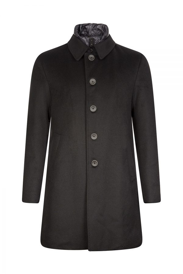 Herno Men's Button Front Tailored Coat Black