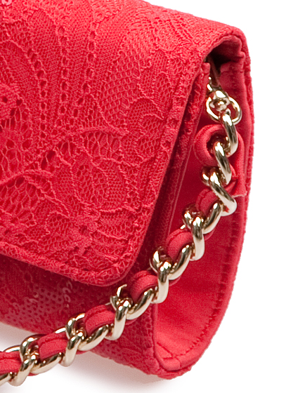 Blumarine Ladies Lace Clutch Red