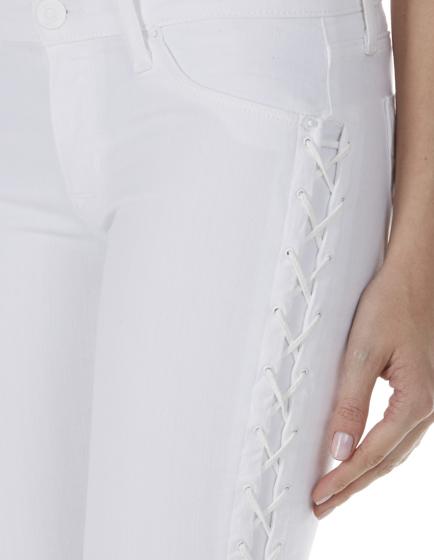 Hudson Raven Ladies Lace-Up Crop Super Skinny Jeans White