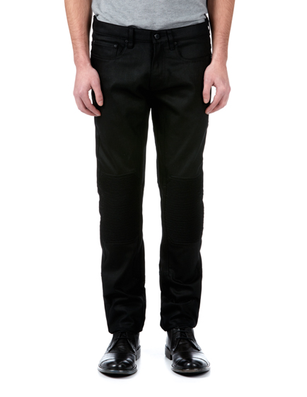 Belstaff Blackrod Men's Coated Stretch-Denim Biker Trousers Black