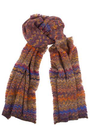 Missoni Men's Wool Zig-zag Fringed Scarf Orange