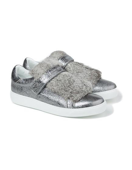 Moncler Lucie Ladies Fur Trim Sneakers Silver