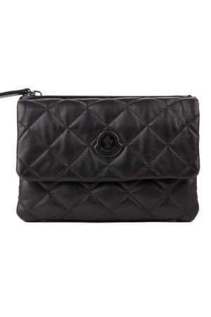 Moncler Poppy Ladies Quilted Leather Handbag Black