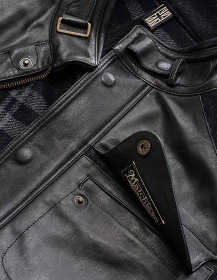 Matchless Fury Men's Nappa Leather and Wool Coat Lead Grey