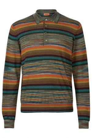 Missoni Men's Cashmere-blend Space-dye Knitted Polo Shirt Orange