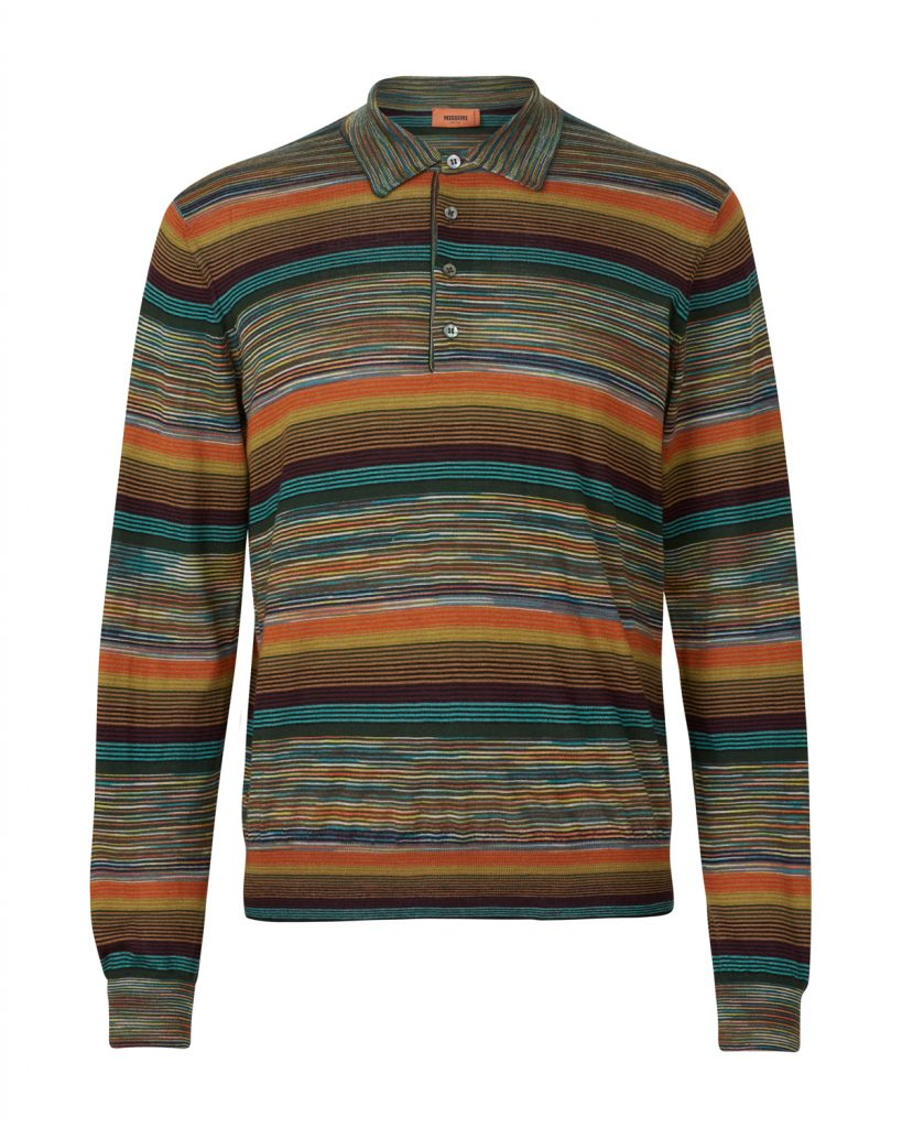 496bf4126ce54b Missoni Men s Cashmere-blend Space-dye Knitted Polo Shirt Orange ...