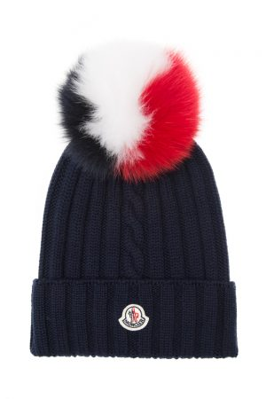 Moncler Women's Rib-knit Beanie Hat Navy