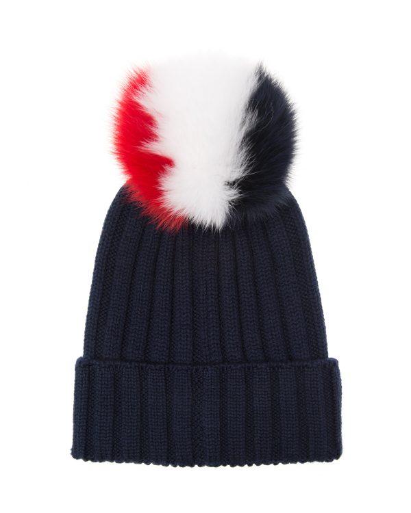 Moncler Women's Rib-knit Beanie Hat Navy