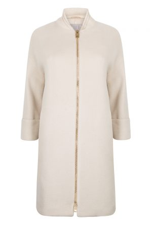 Herno Women's Ribbed Collar Long Coat Beige