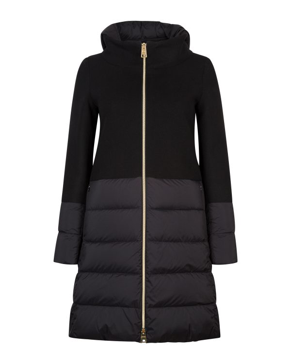 Herno Ladies Quilted Panel Hooded Coat Black