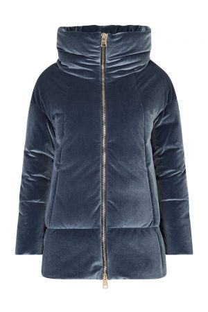 Herno Ladies Velvet Down Coat Blue