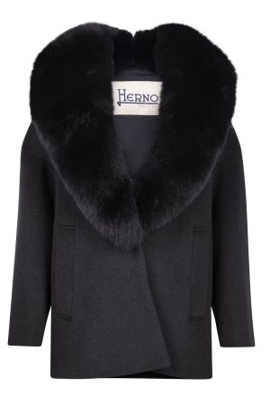 Herno Ladies Fur Collar Coat Black
