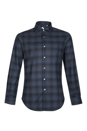 Pal Zileri Men's Check Cotton Shirt Navy