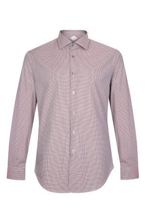 Pal Zileri Men's Check Cotton Shirt Burgundy