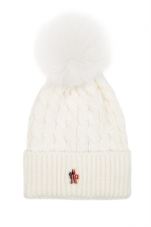 Moncler Grenoble Women's Pom-Pom Beanie Hat Cream