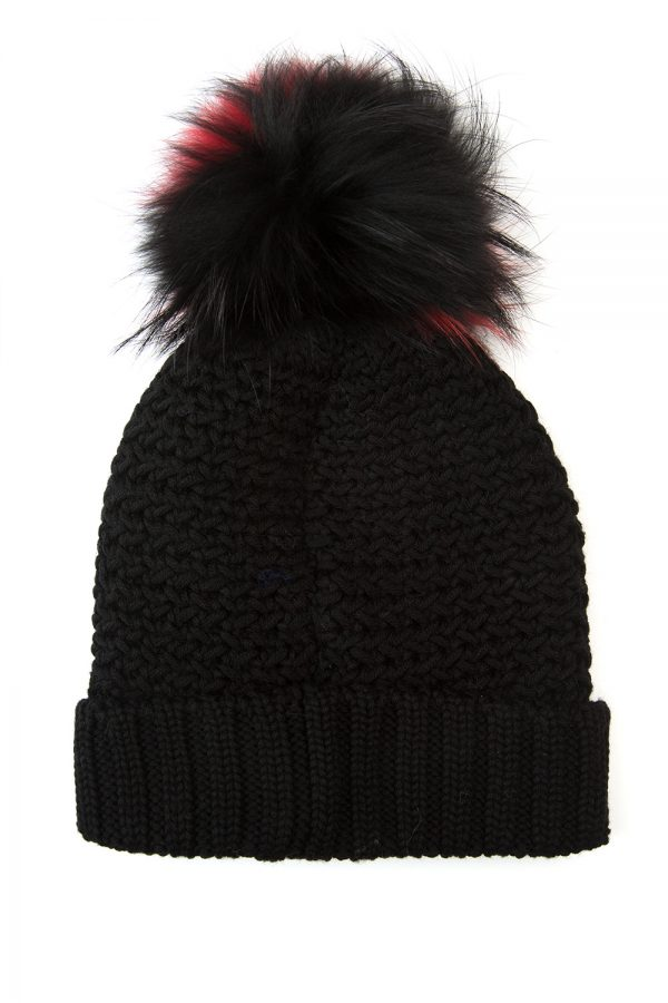 Woolrich Bicol Ladies Pom-pom Beanie Hat Black