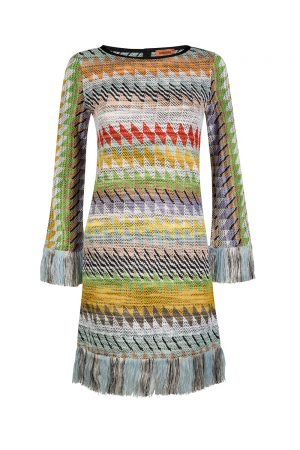 Missoni Women's Fringed Shift Dress Multicoloured