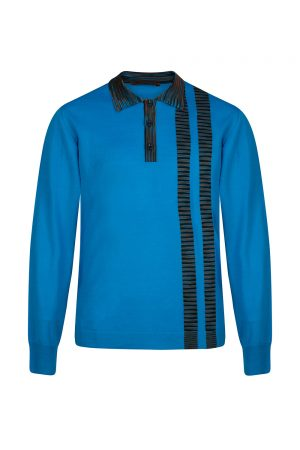 Missoni Men's Stripe Panel Polo Shirt Blue