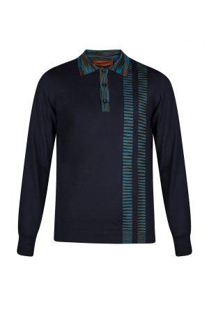 Missoni Men's Stripe Panel Polo Shirt Black