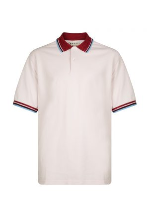 Marni Men's Contrast Collar Polo Shirt Pink