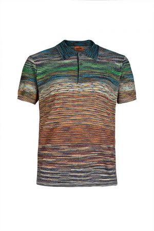 Missoni Men's Waffle Knitted Polo Shirt Multicoloured