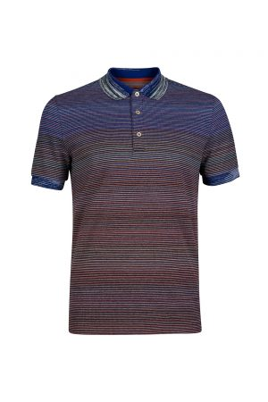 Missoni Men's Shaded Stripe Polo Shirt Blue