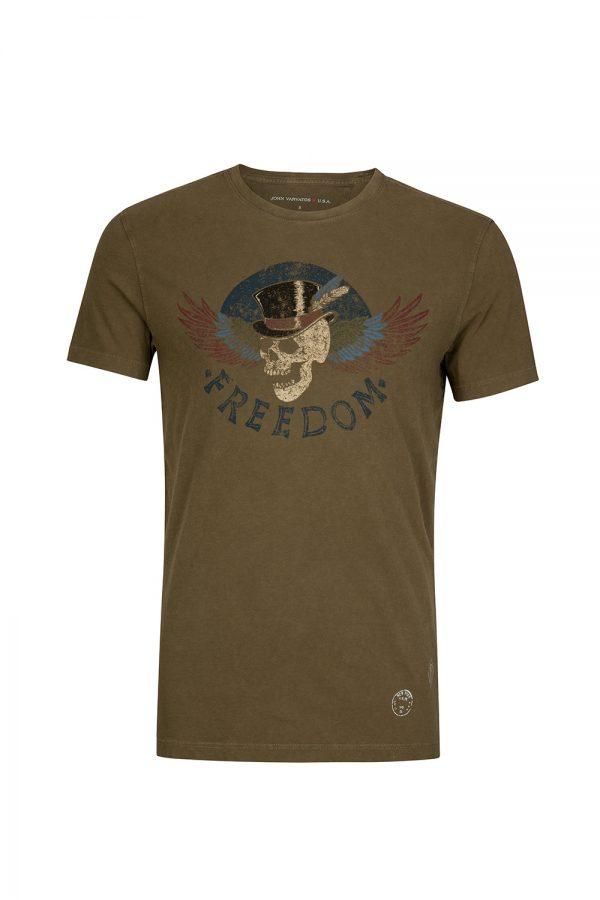 John Varvatos Men's Freedom Skull T-shirt Khaki