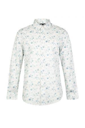 John Varvatos Men's Floral Cotton Shirt White