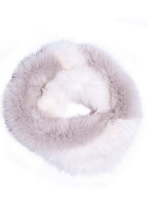 Mila Furs Acacia Infinity Ladies Scarf White and Grey