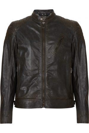 Belstaff Sandway Men's Leather Motorcycle Jacket Vintage Black