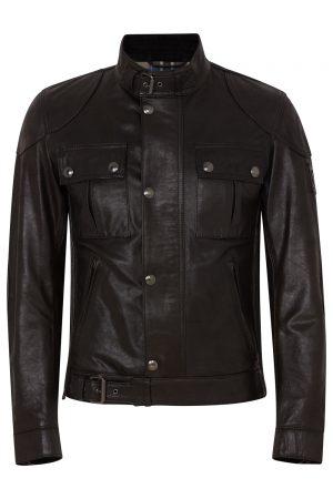 Belstaff Gangster Men's Hand Waxed Leather Jacket Black FRONT