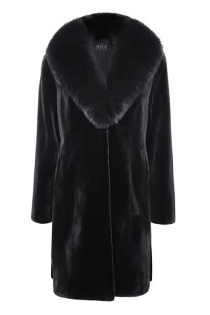 Mila Furs Jamelle Ladies Mink & Fox Fur Coat Black