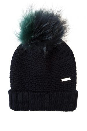 Woolrich Bicol Ladies Ribbed Pom-pom Beanie Navy