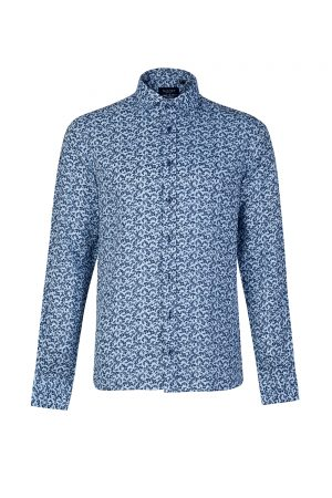 Sand Men's Micro-floral Print Shirt Blue