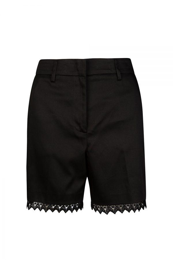 Blumarine Women's Applique Lace Hem Shorts Black