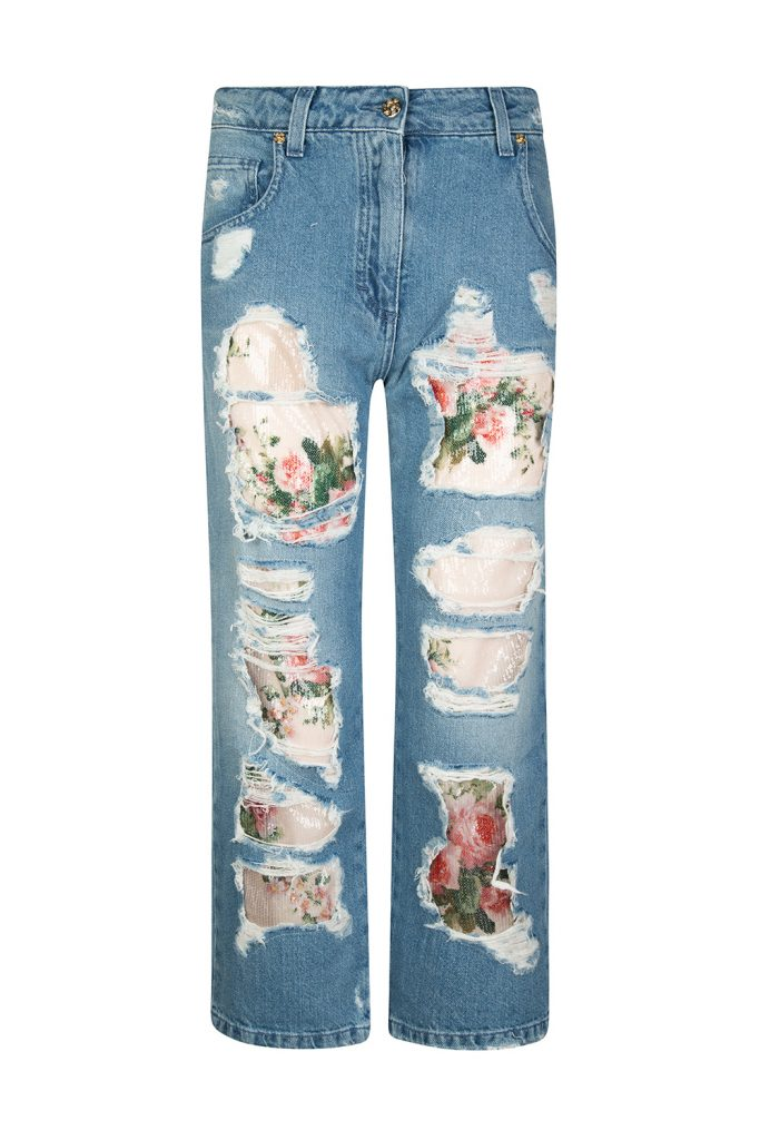 Blumarine Women's Floral Sequin Embellished Cropped Jeans Blue