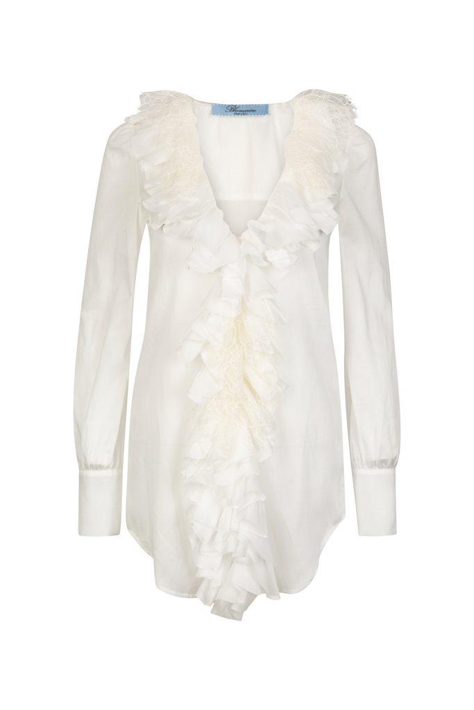 Blumarine Women's Ruffle Trim Shirt White