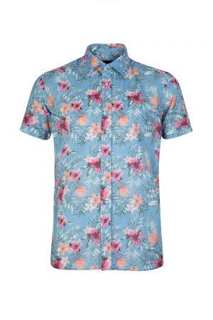 Sand Men's Tropical Print Shirt Blue