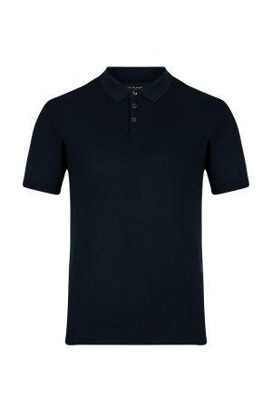 Sand Men's Geometric Panel Polo Shirt Dark Blue